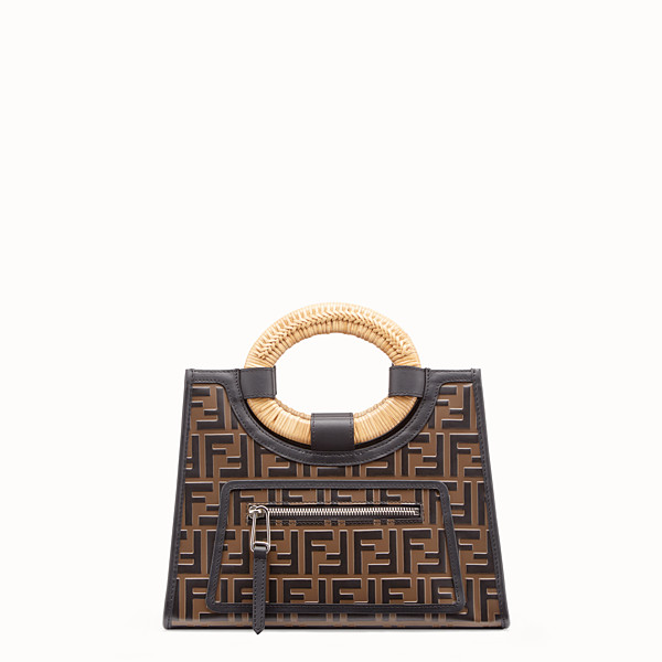 FENDI RUNAWAY SHOPPER - Brown leather small shopper - view 1 small thumbnail