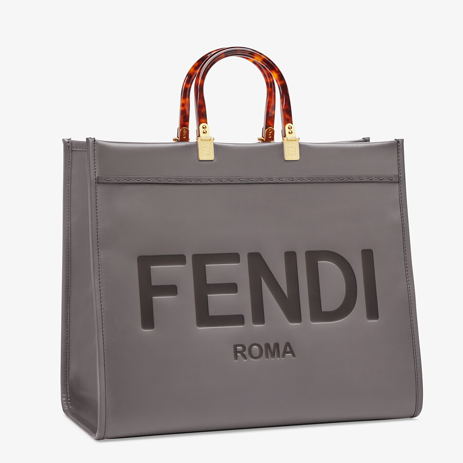 FENDI SUNSHINE SHOPPER - Gray leather shopper - view 2 detail