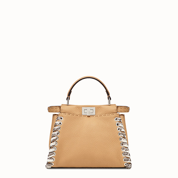FENDI PEEKABOO ICONIC MINI - Brown leather bag with exotic details - view 1 small thumbnail