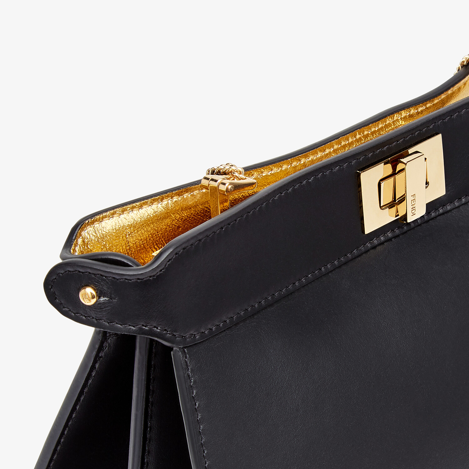 FENDI PEEKABOO I SEE U POCHETTE - Black nappa leather bag - view 5 detail