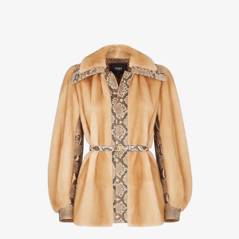 FENDI PEA COAT - Brown mink jacket - view 1 detail