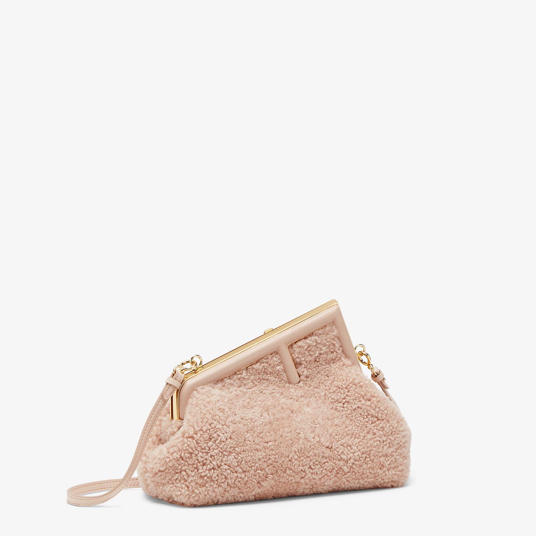 FENDI FENDI FIRST SMALL - Pink sheepskin bag - view 3 detail