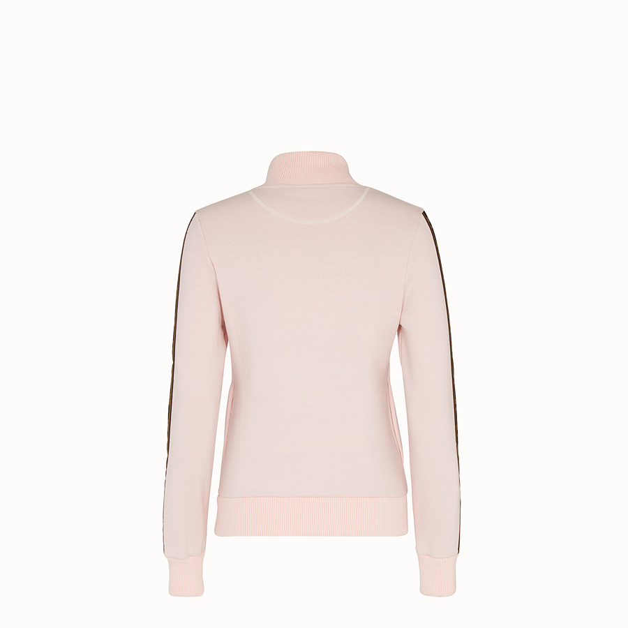 FENDI SWEATSHIRT WITH ZIP - Pink cotton jersey sweatshirt - view 2 detail