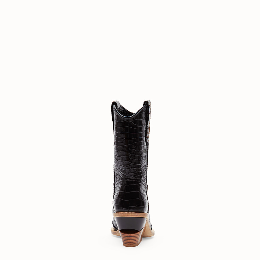 FENDI BOOTS - Black crocodile-embossed ankle boots - view 3 detail