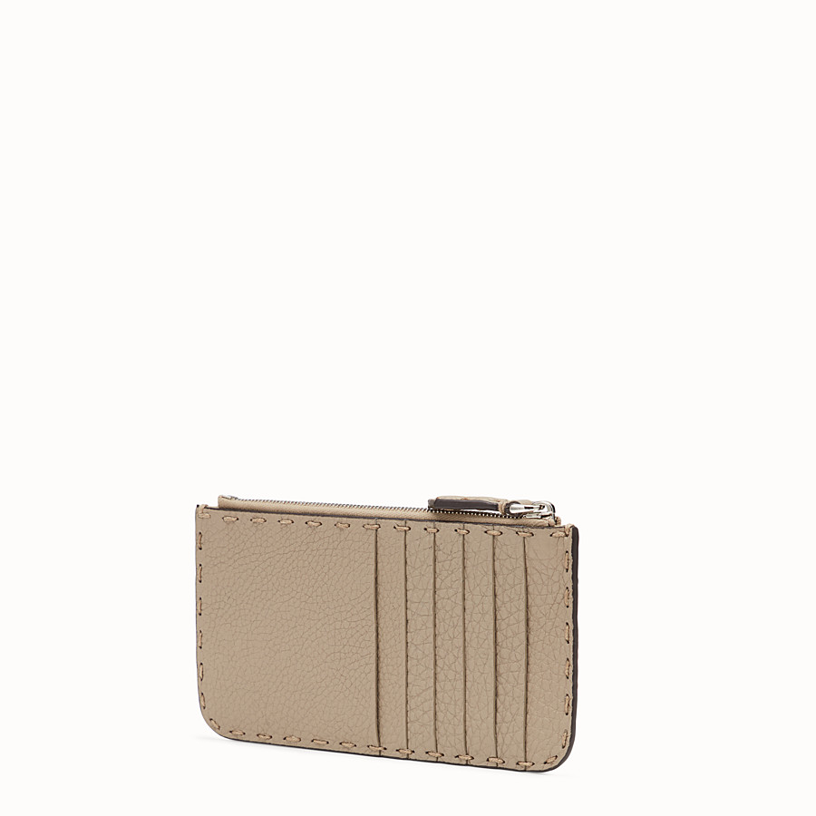 FENDI CARD POUCH - Beige leather pouch - view 2 detail