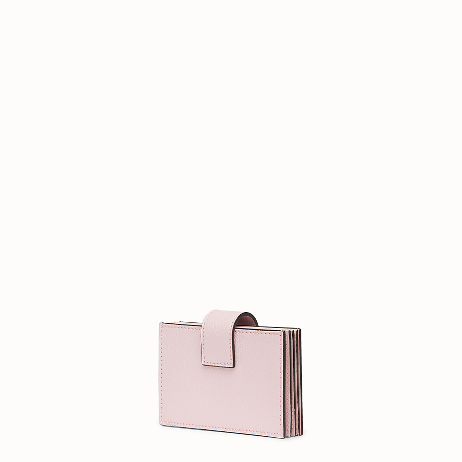 FENDI CARD HOLDER - Pink leather gusseted card holder - view 2 detail