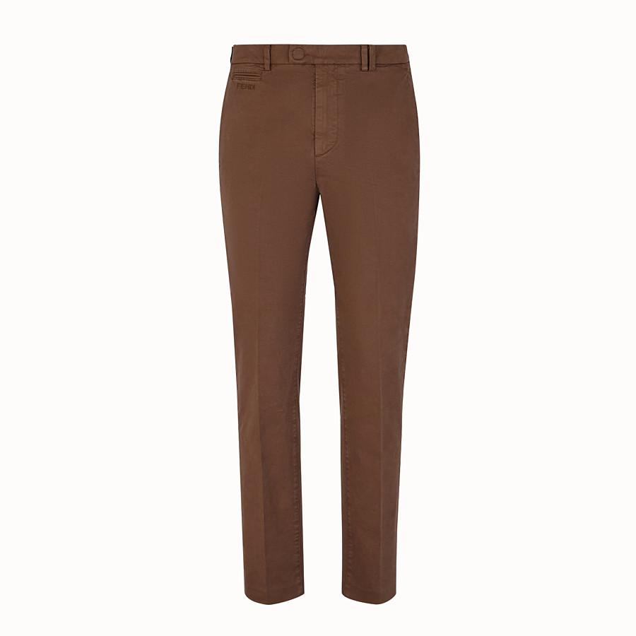 FENDI PANTALONE - Pantalone in cotone beige - vista 1 dettaglio
