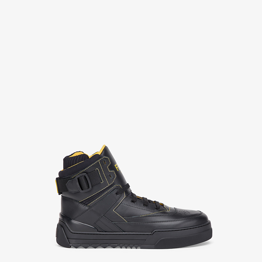 FENDI SNEAKERS - Black leather high-tops - view 1 detail