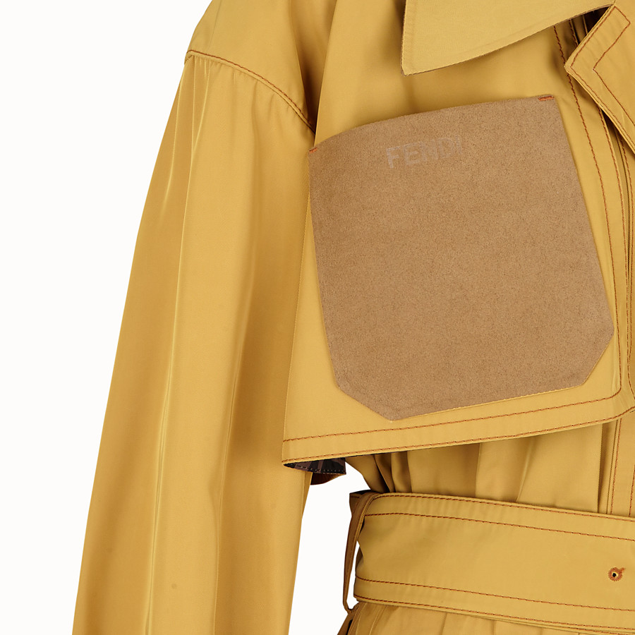 FENDI OVERCOAT - Yellow nylon trench coat - view 3 detail