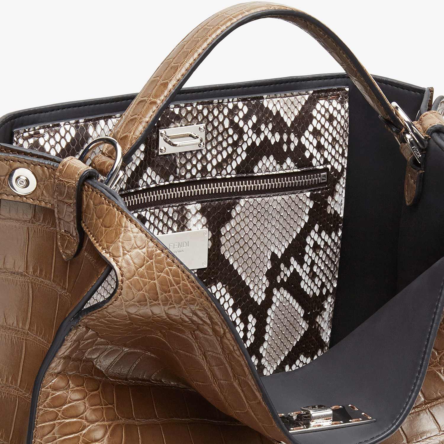 FENDI PEEKABOO X-LITE FIT - Brown alligator bag - view 6 detail