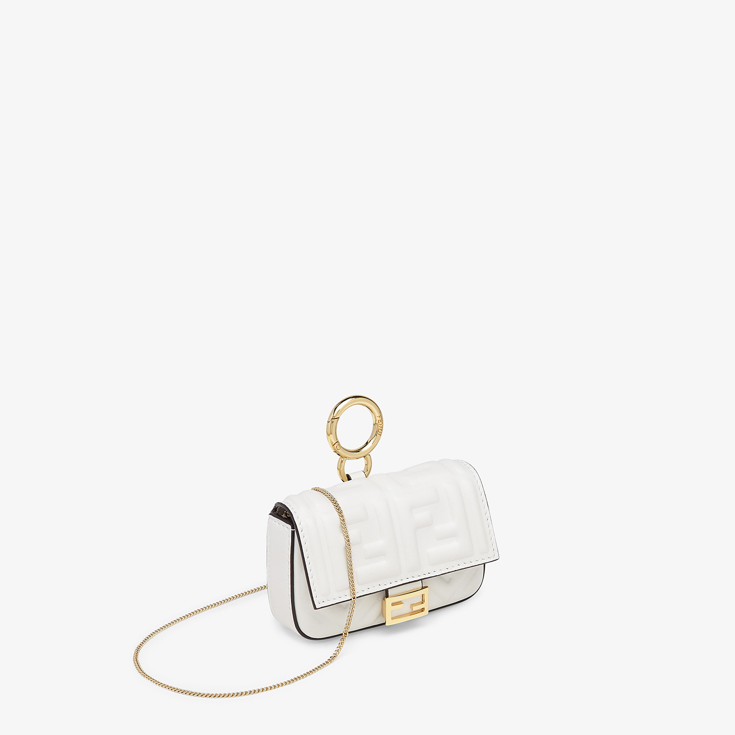FENDI NANO BAGUETTE CHARM - White nappa leather charm - view 2 detail