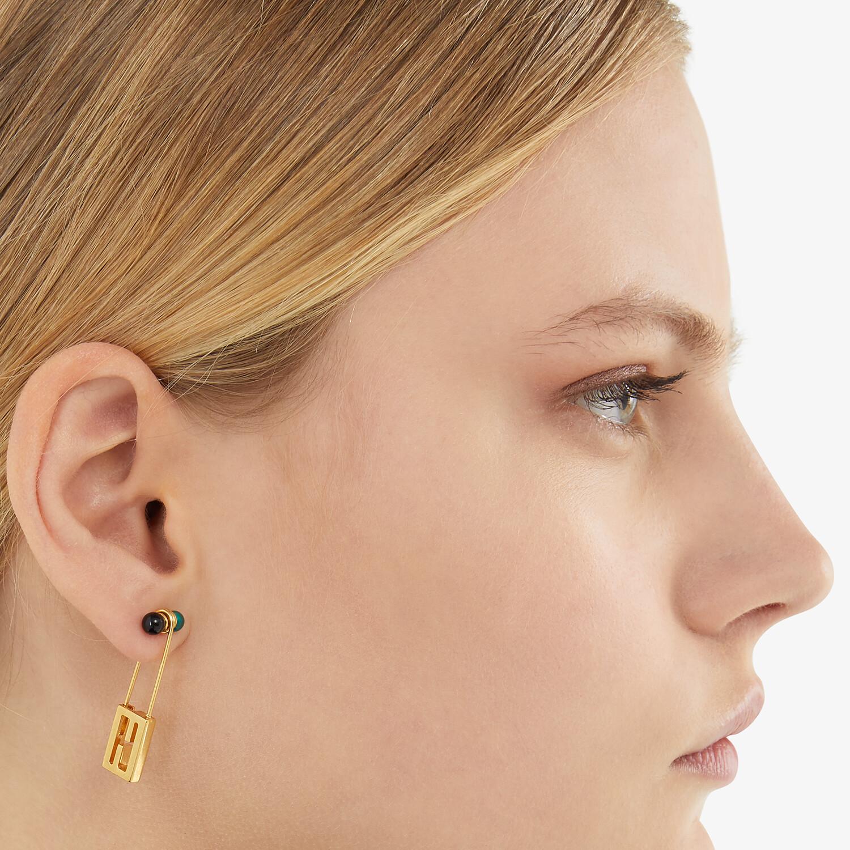 FENDI BAGUETTE SMALL EARRINGS - Gold-colored earrings - view 2 detail