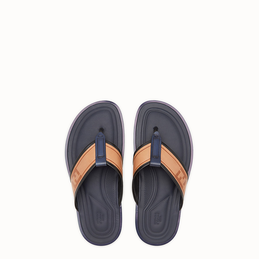 FENDI 涼鞋 - 拼色皮革夾趾拖鞋 - view 4 detail