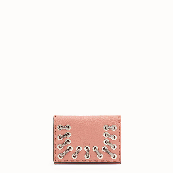 FENDI CARD HOLDER - Pink leather business card holder with exotic details - view 1 small thumbnail