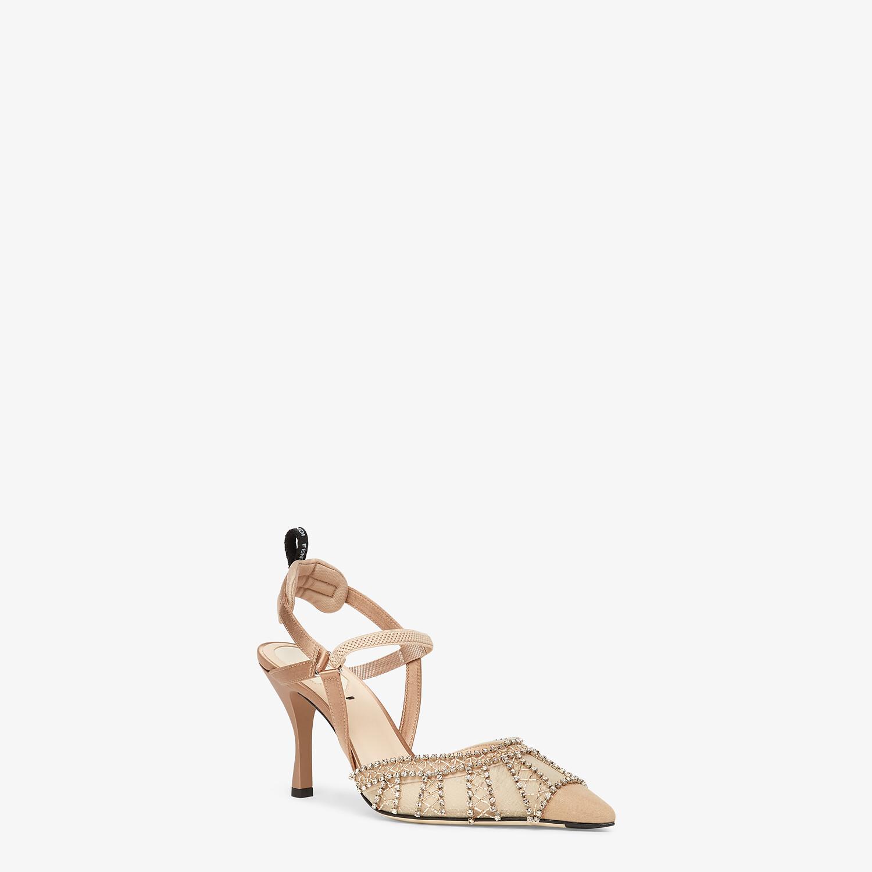 FENDI COLIBRÌ LITE - High-heeled slingbacks in pink micromesh with rhinestone embroidery - view 2 detail