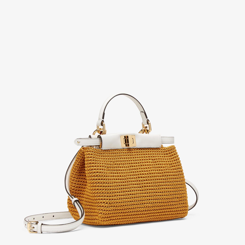 FENDI PEEKABOO MINI - Yellow cotton crochet bag - view 3 detail