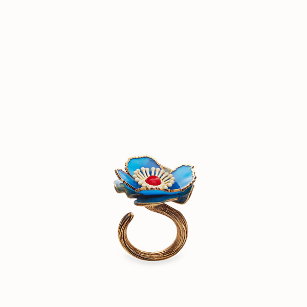 FENDI FLOWER RING - Blue enameled ring - view 1 small thumbnail