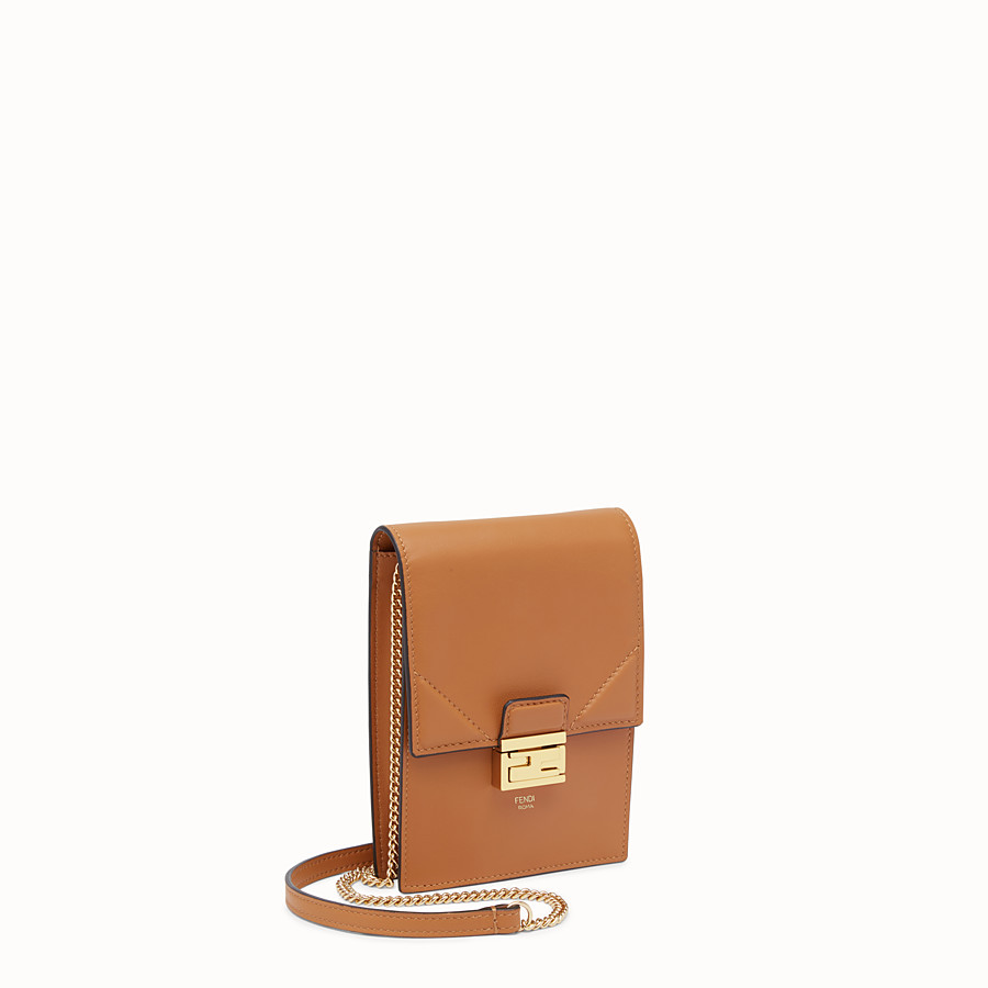 FENDI VERTICAL WALLET ON CHAIN KAN U - Brown leather mini-bag - view 3 detail