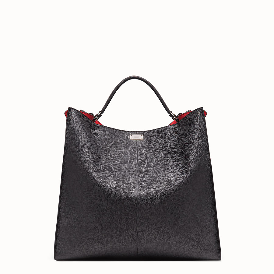 FENDI PEEKABOO X-LITE REGULAR - Black leather bag - view 4 detail