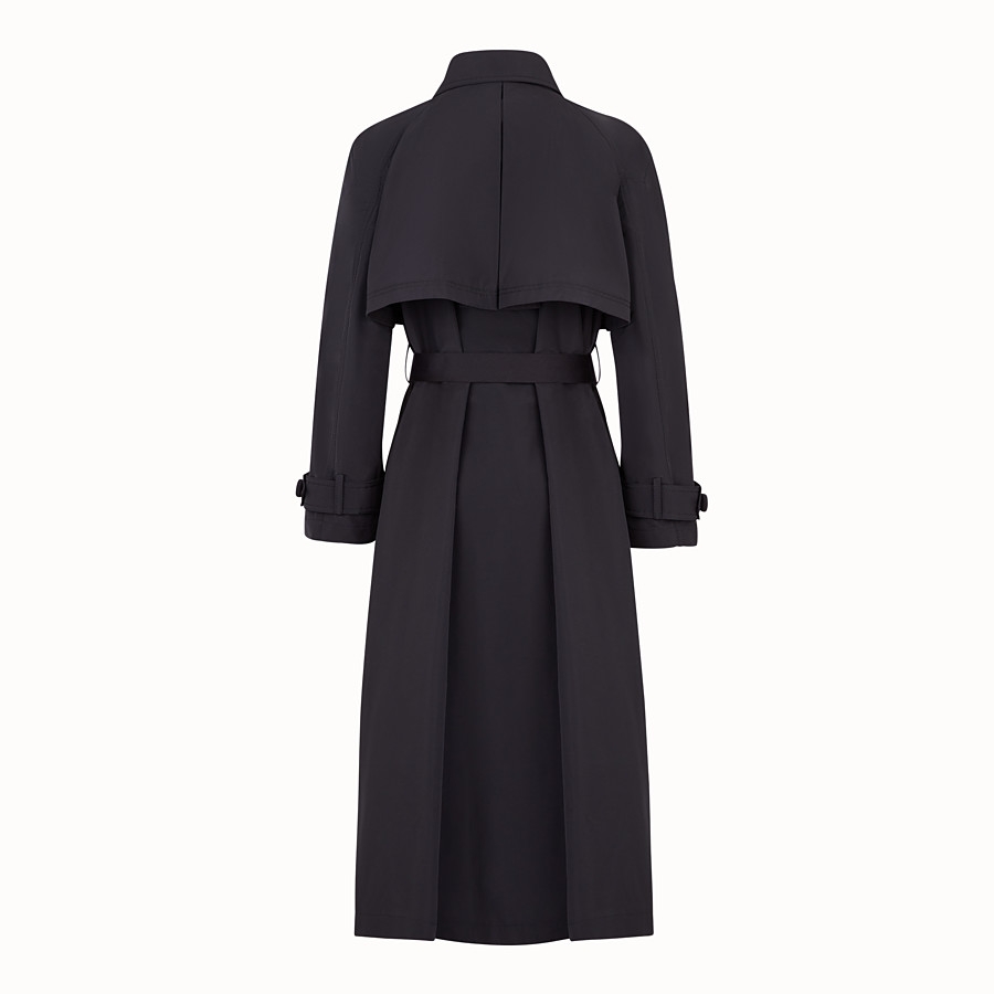 FENDI OVERCOAT - Black faille trench coat - view 2 detail