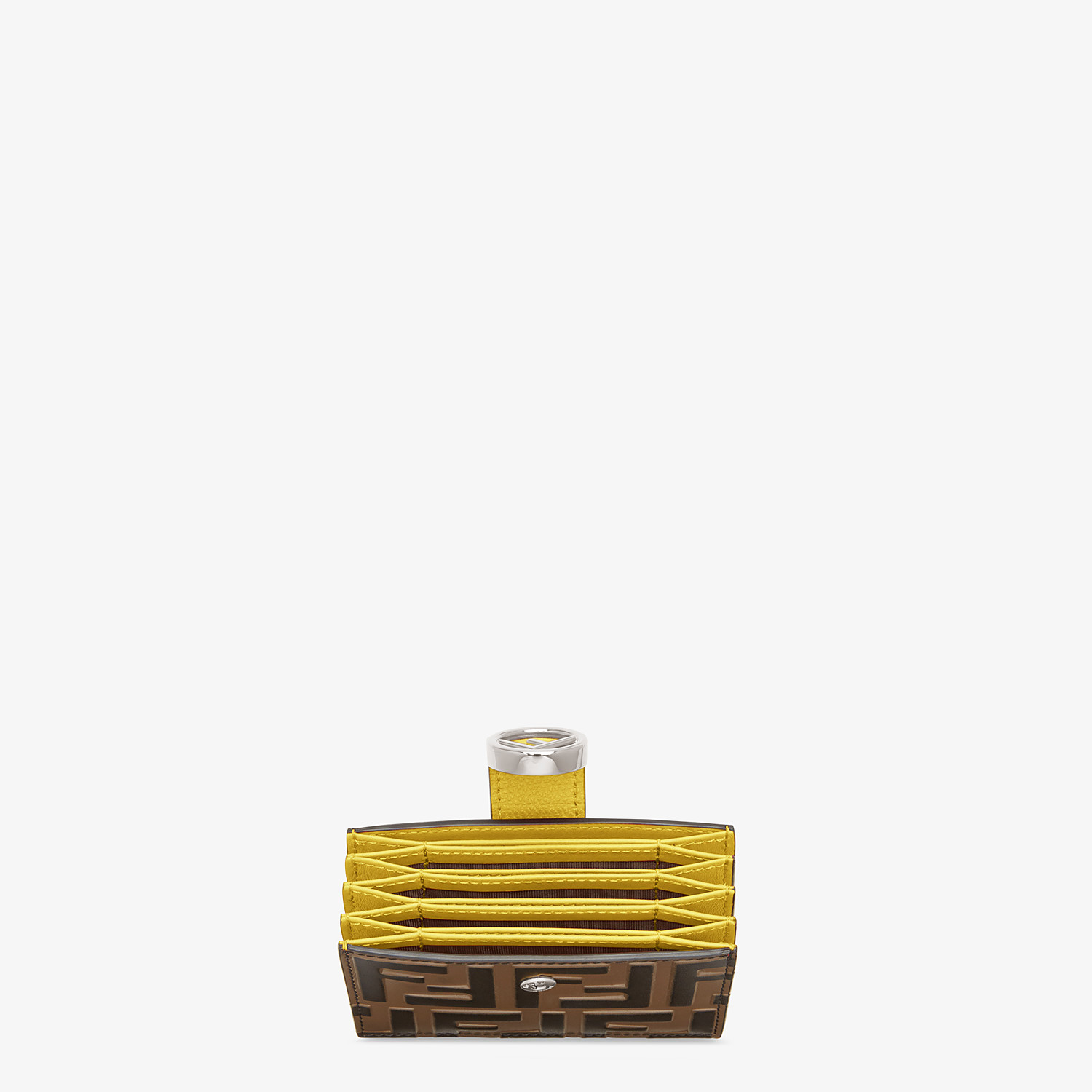 FENDI CARD HOLDER - Yellow leather gusseted card holder - view 4 detail