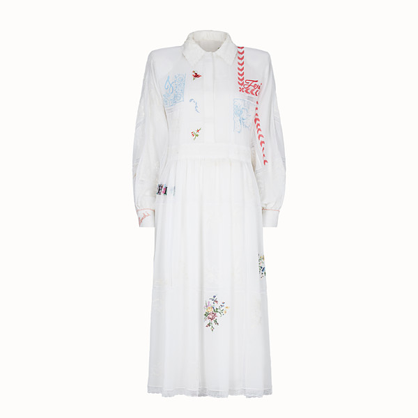 FENDI DRESS - White fabric shirt dress - view 1 small thumbnail