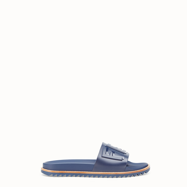 FENDI SLIDE - Slide in gomma blu - vista 1 thumbnail piccola
