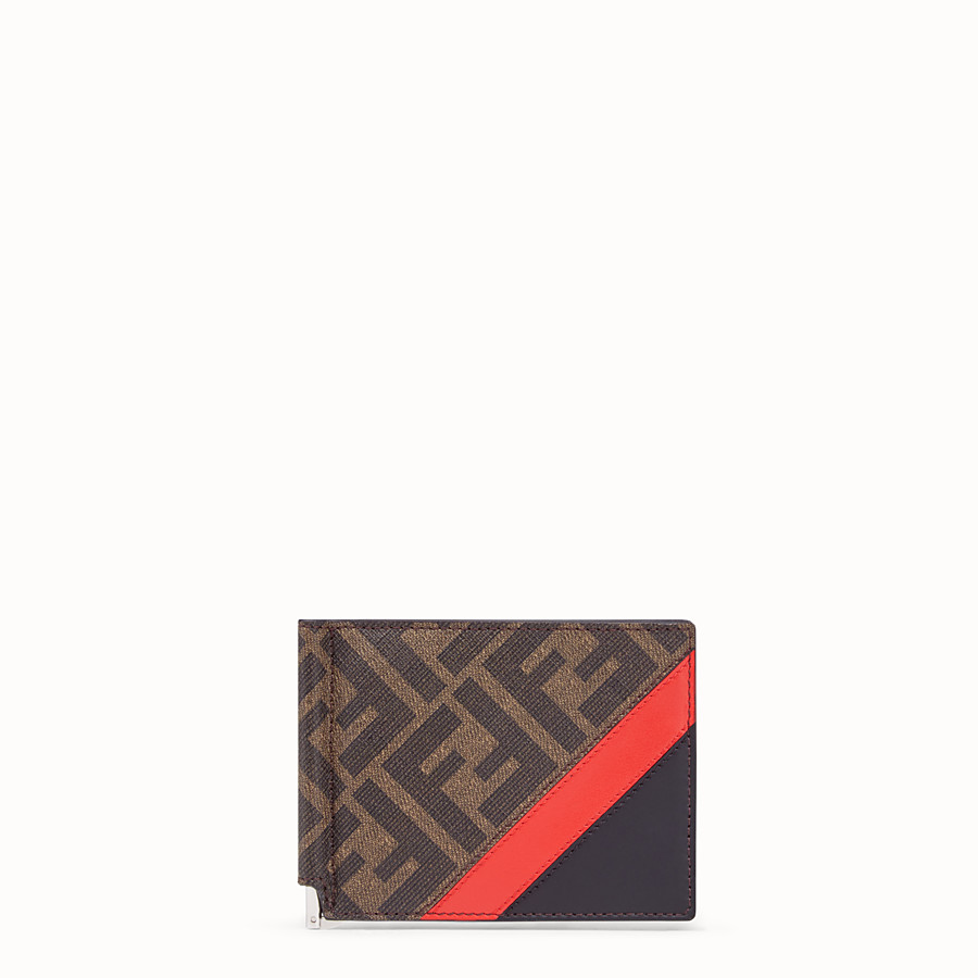 FENDI CARD HOLDER - Brown fabric money clip - view 1 detail