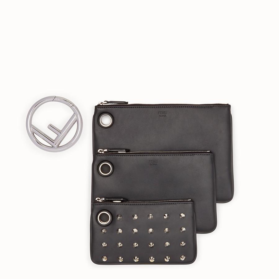 FENDI TRIPLETTE - Black leather clutch - view 2 detail
