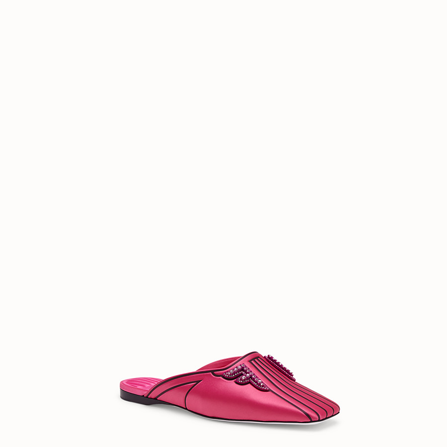 FENDI SABOTS - Satin flats in fuchsia - view 2 detail