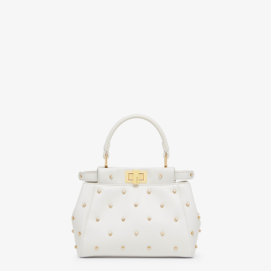FENDI PEEKABOO ICONIC XS - White leather minibag - view 1 detail