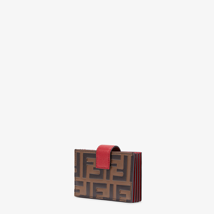 FENDI CARD HOLDER - Red leather gusseted card holder - view 2 detail