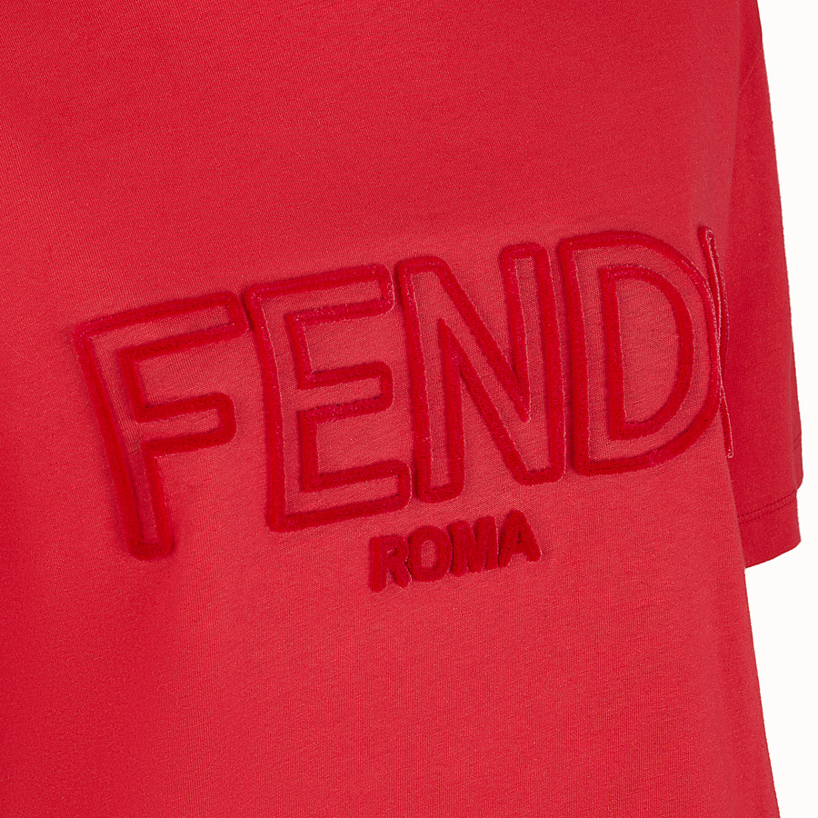 FENDI T-SHIRT - Red cotton T-shirt - view 3 detail