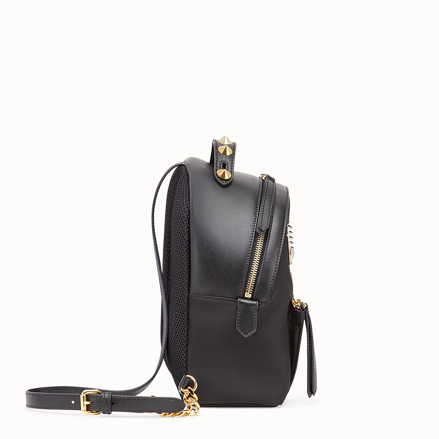 FENDI MINI BACKPACK - Black nylon and leather small backpack - view 2 detail