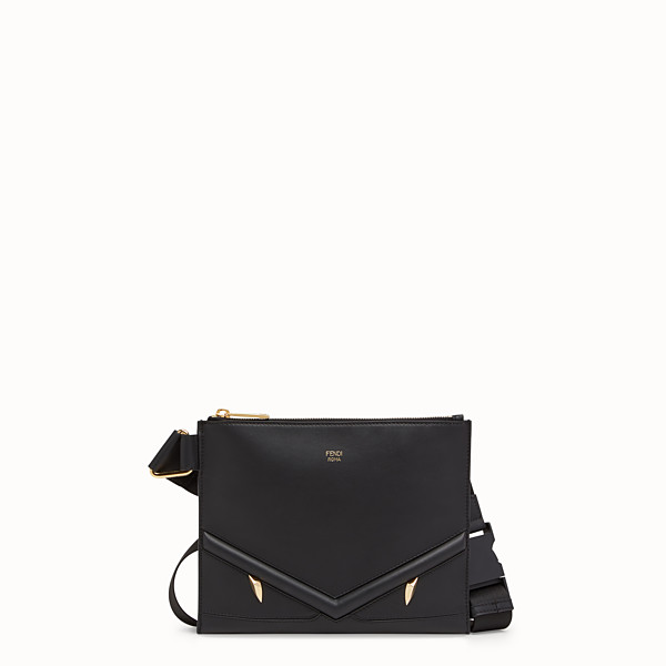 FENDI MESSENGER - Black leather slim pouch - view 1 small thumbnail