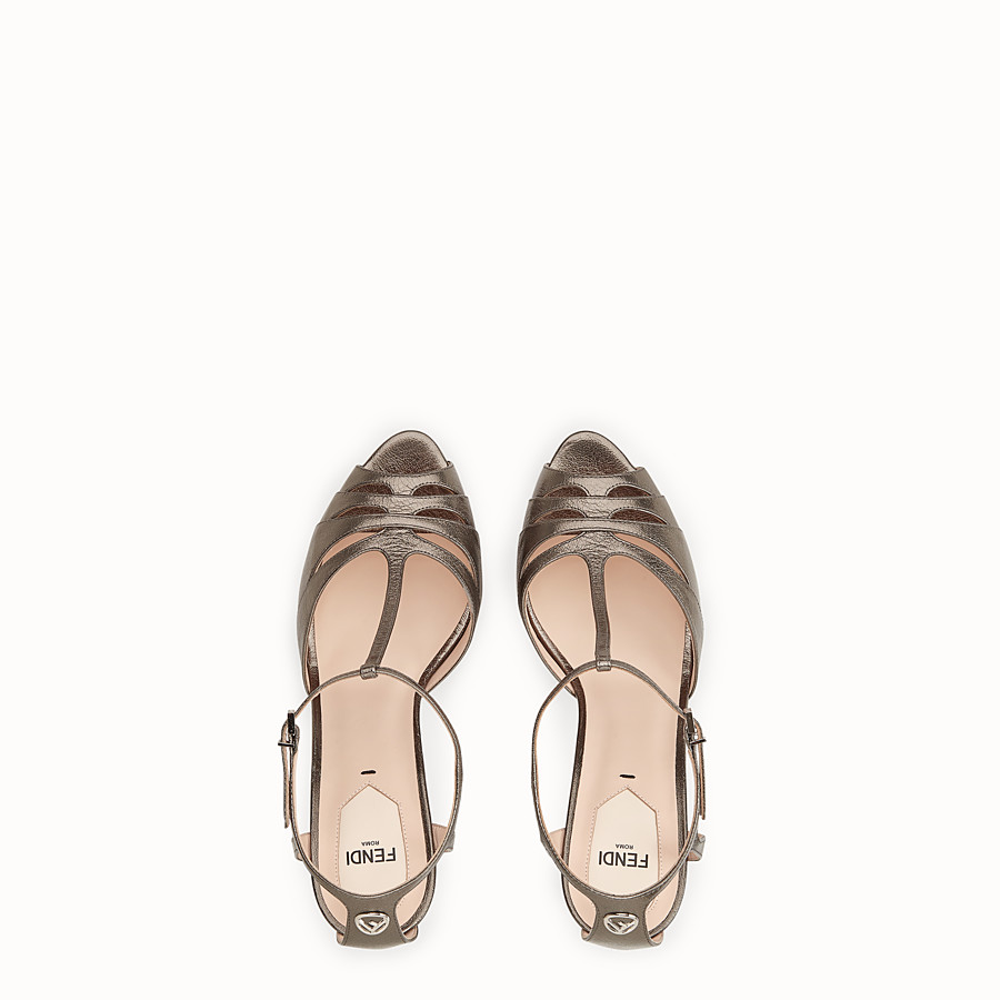 FENDI SANDALS - Grey leather high-heel sandals - view 4 detail