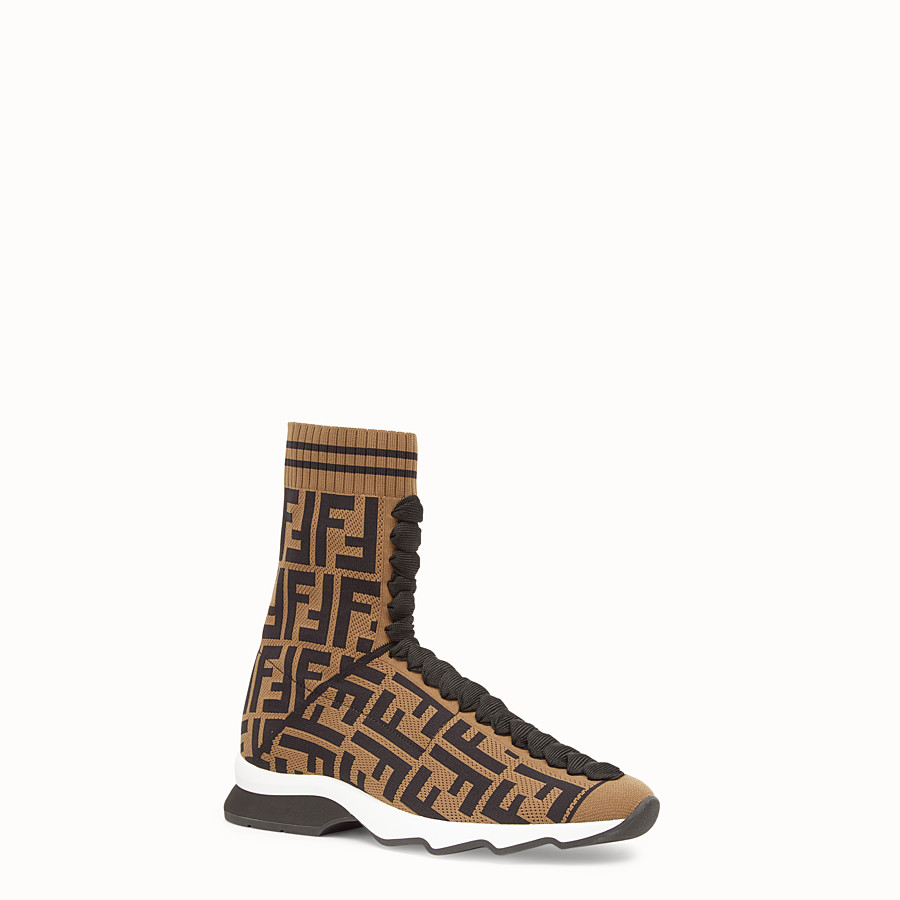 FENDI SNEAKERS - Multicolour fabric sneaker boots - view 2 detail