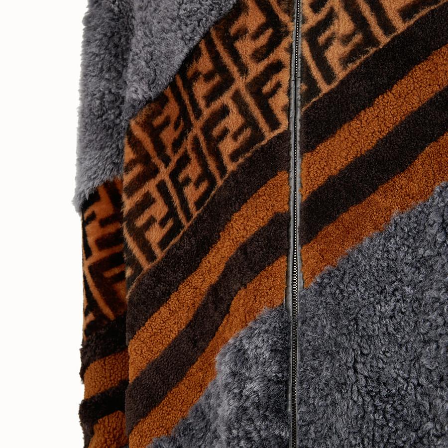 FENDI 連帽外套 - 灰色羊皮連帽外套 - view 3 detail