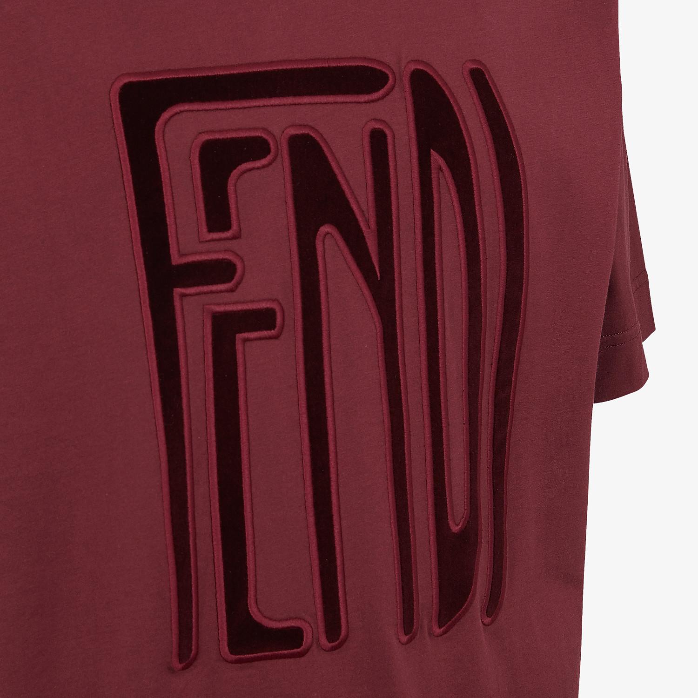 FENDI T-SHIRT - Burgundy cotton T-shirt - view 3 detail