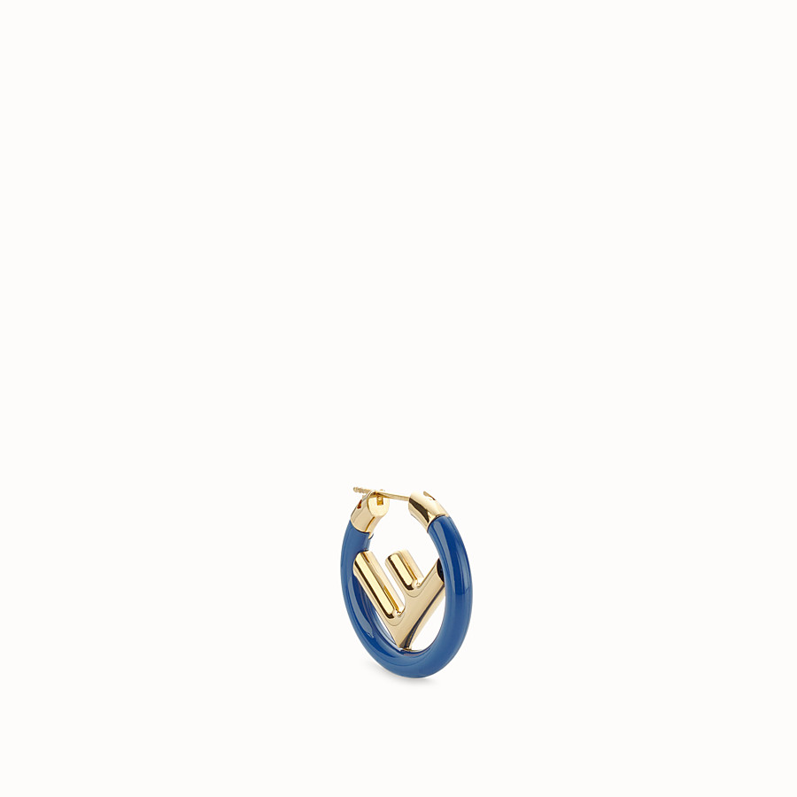FENDI F IS FENDI EARRINGS - Gold and blue coloured earring - view 1 detail