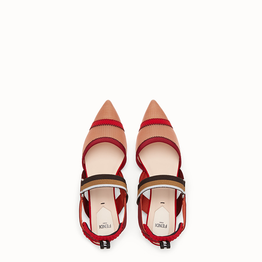 FENDI SLINGBACK - Red mesh sabots - view 4 detail