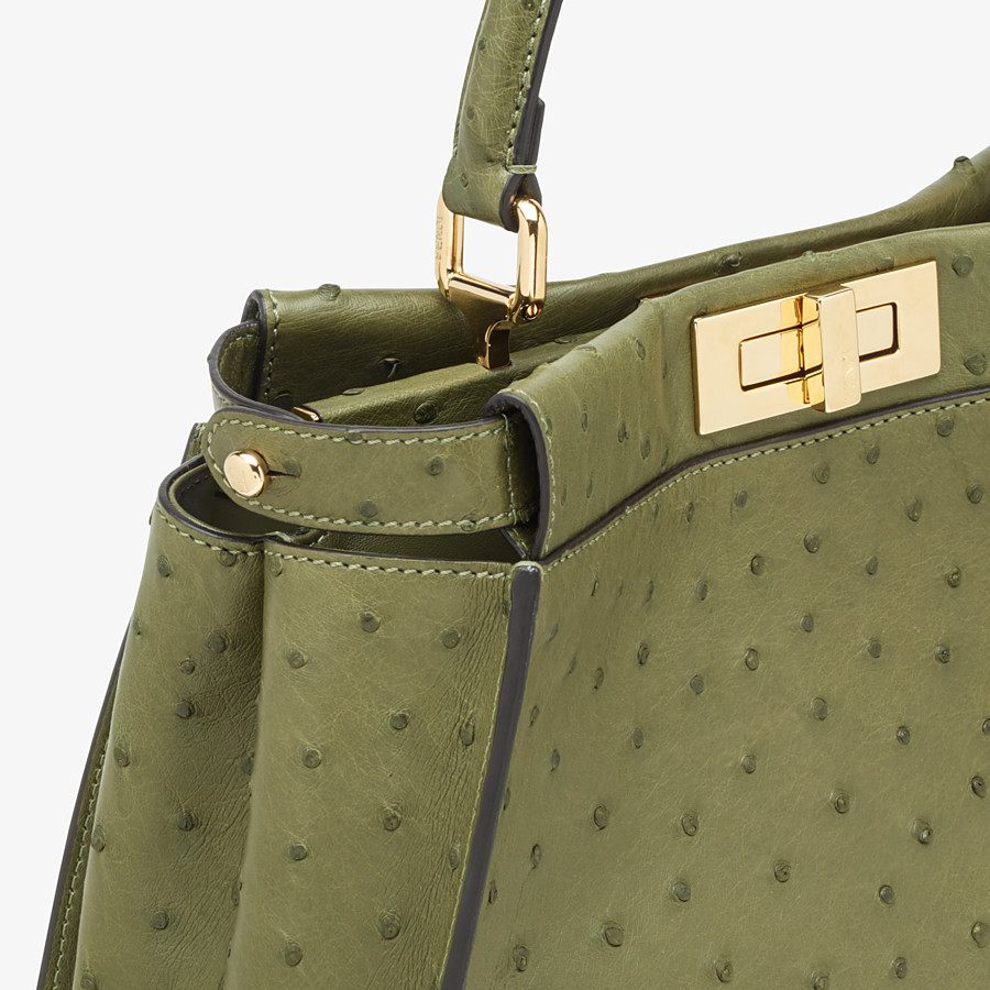 FENDI PEEKABOO ICONIC MEDIUM - Green ostrich leather bag - view 5 detail