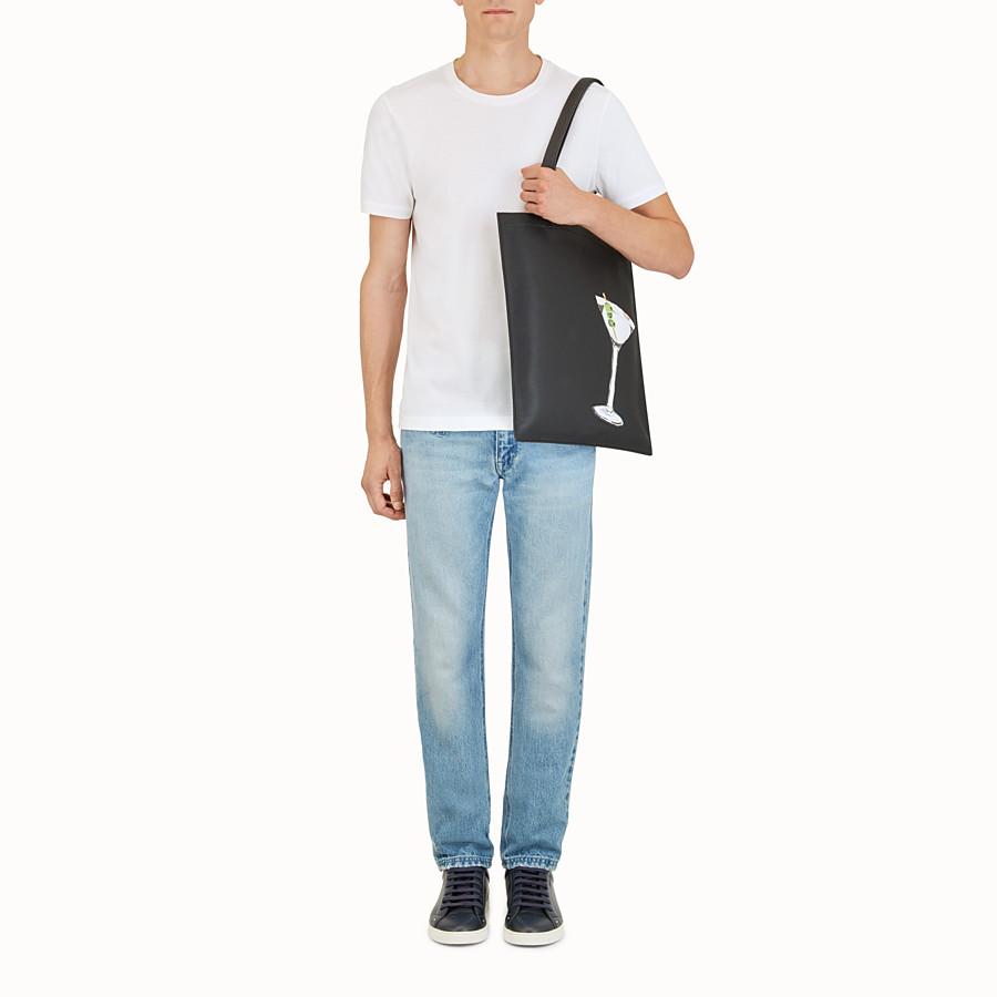 FENDI SHOPPER - Black leather bag - view 5 detail