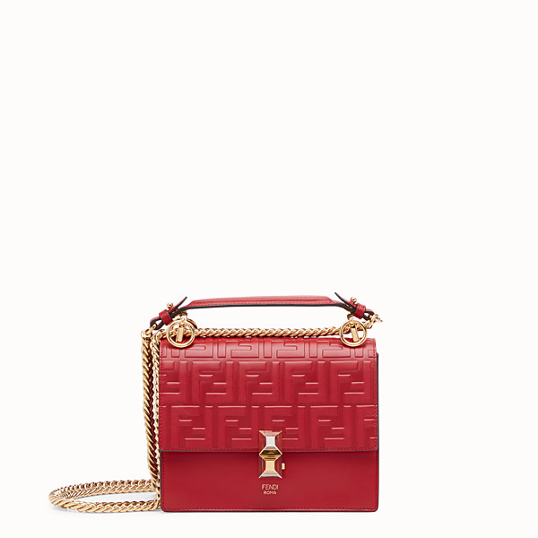 FENDI KAN I SMALL - Mini sac en cuir rouge - view 1 small thumbnail