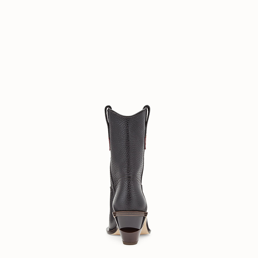 FENDI BOOTS - Black leather ankle boots - view 3 detail