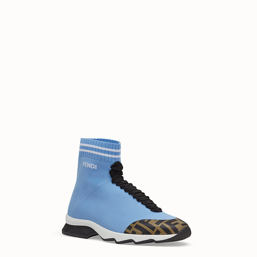 FENDI SNEAKERS - Pale blue fabric sneaker boots - view 2 detail