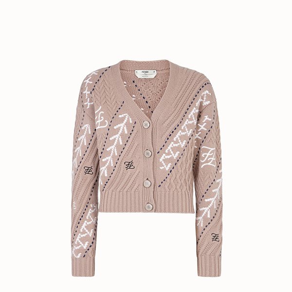 FENDI CARDIGAN - Beige wool and cashmere cardigan - view 1 small thumbnail
