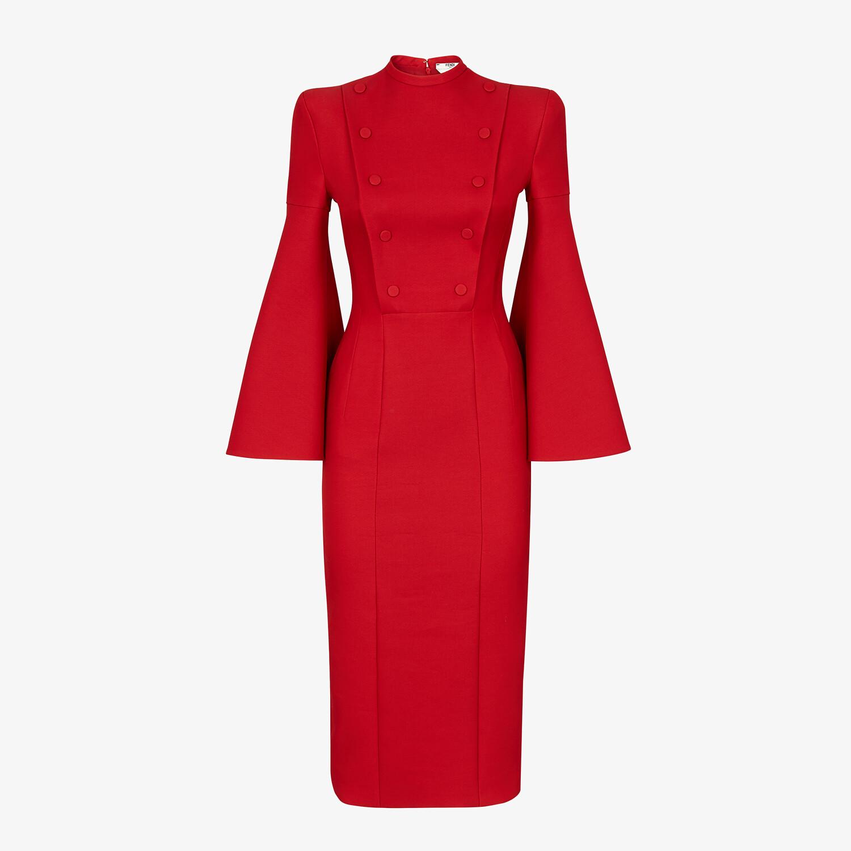 FENDI ABITO - Abito in lana e seta rossa - vista 1 dettaglio