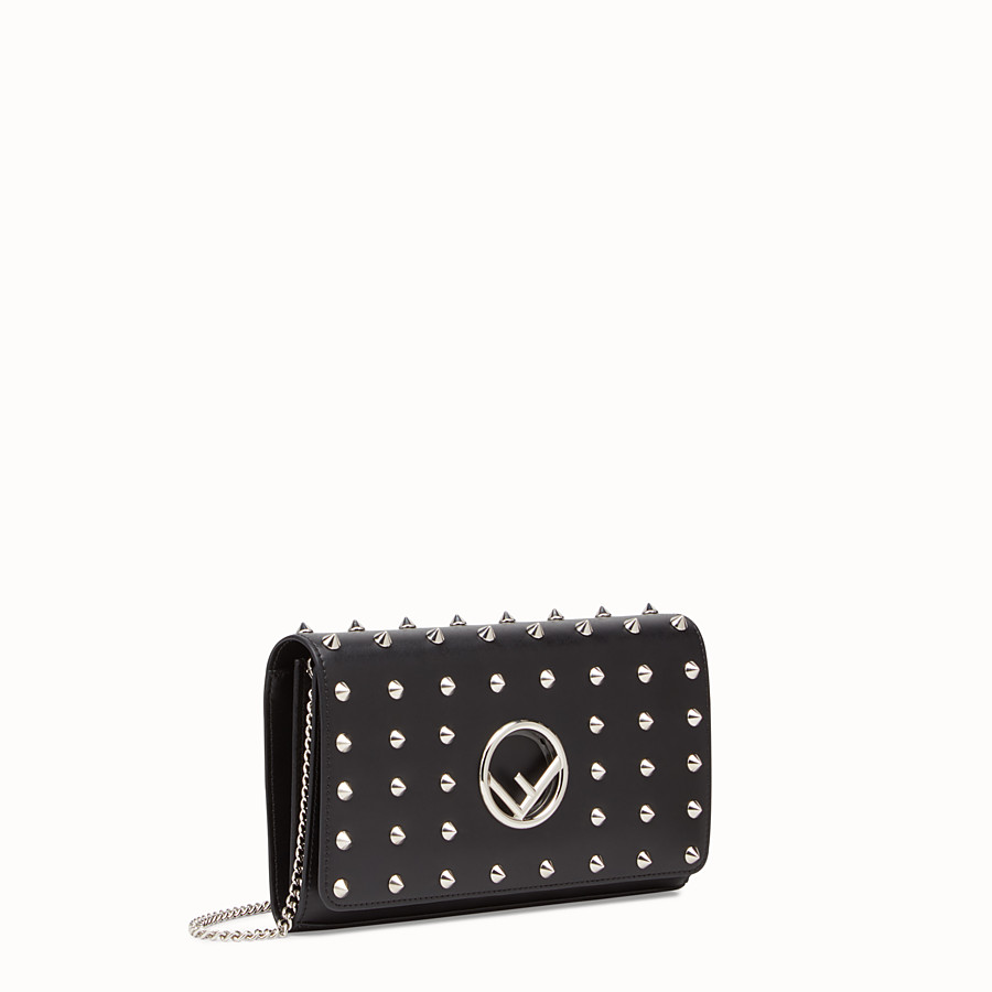 FENDI WALLET ON CHAIN - Black leather mini-bag - view 2 detail