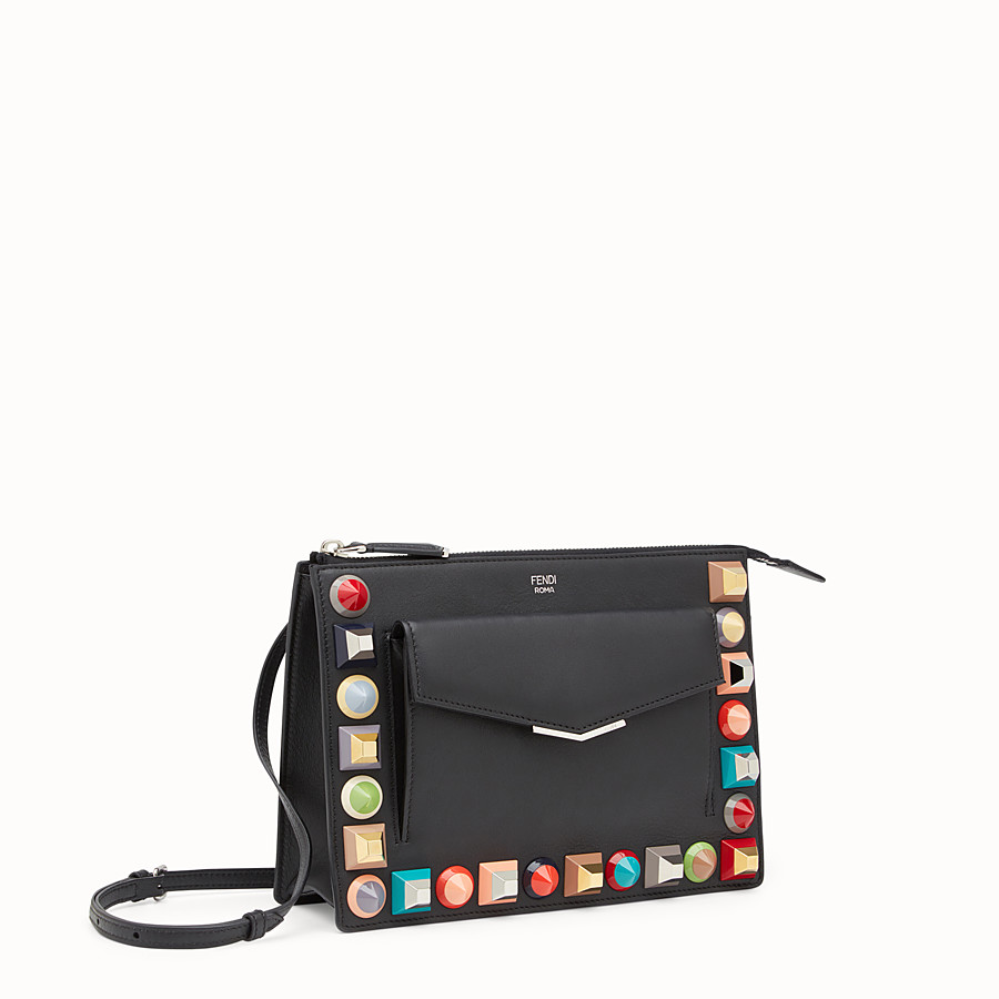 FENDI MINI POUCH - in black leather with multicoloured studs - view 2 detail